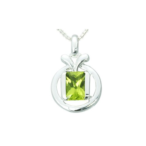 1.50 Carats Genuine Radiant Cut Peridot Pendant Necklace in Sterling Silver