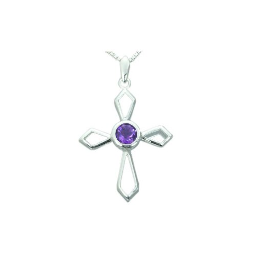 .75 Carat Genuine Round Amethyst Cross Pendant Necklace in Sterling Silver