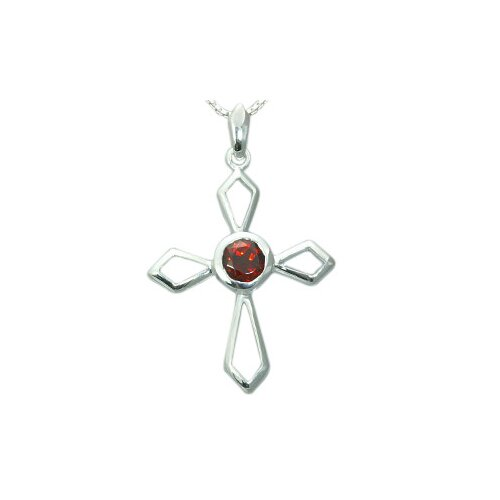 1.00 Carat Genuine Round Garnet Cross Pendant Necklace in Sterling Silver