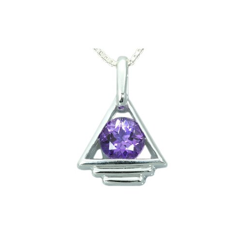 1.25 Carats Genuine Round Amethyst Pendant Necklace in Sterling Silver