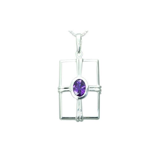 Oravo 1.00 Carat Genuine Oval Shape Amethyst Pendant Necklace in Sterling Silver