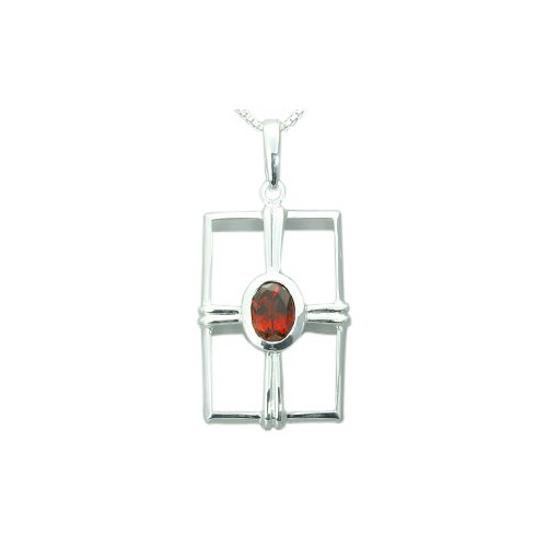 1.50 Carats Genuine Oval Shape Garnet Pendant Necklace in Sterling Silver
