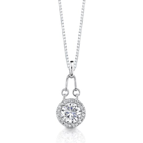 Oravo Fire and Ice Designer Inspired Bridal Style Cubic Zirconia Pendant Necklace in Sterling Silver