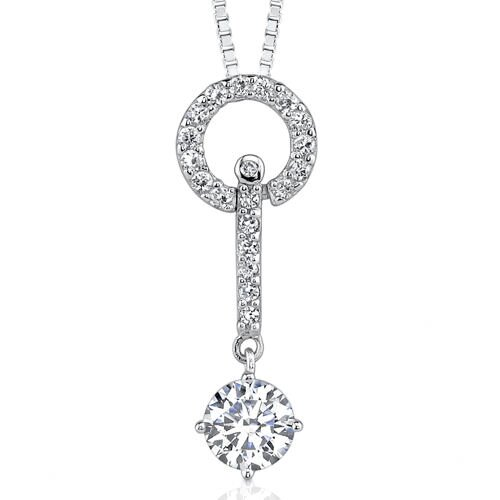 Tradition of Elegance Designer Inspired Celebrity Style Solitaire Cubic Zirconia Pendant ...