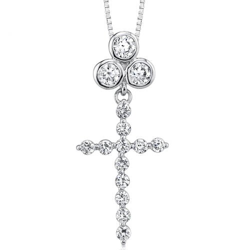 Oravo Faithful Treasure Designer Style Celebrity Inspired Cubic Zirconia Cross Pendant Necklace in Sterling Silver