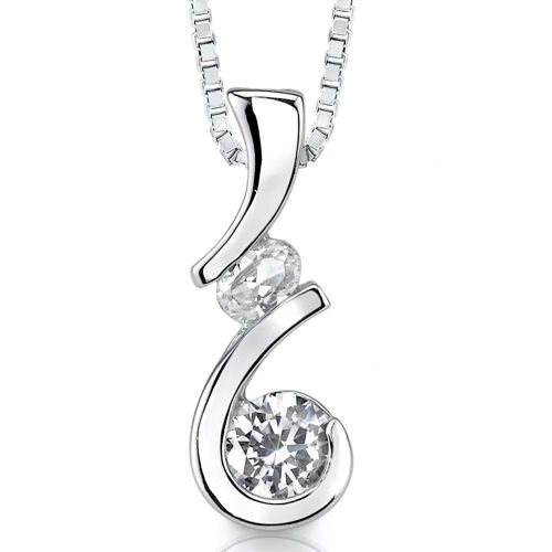 Sparkling Medley Bridal Jewelry Designer Inspired Pendant Necklace with Multi-shaped Cubic ...