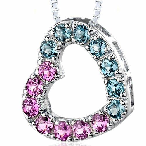 Oravo 2.00 Carats Total Weight Round Shape Pink Sapphire and Swiss Blue Topaz Open Heart Pendant Necklace in Sterling Silver