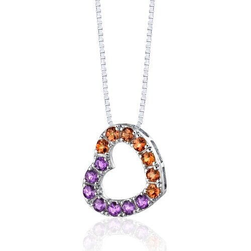 Oravo 1.75 Carats Total Weight Round Shape Amethyst and Citrine Open Heart Pendant Necklace in Sterling Silver