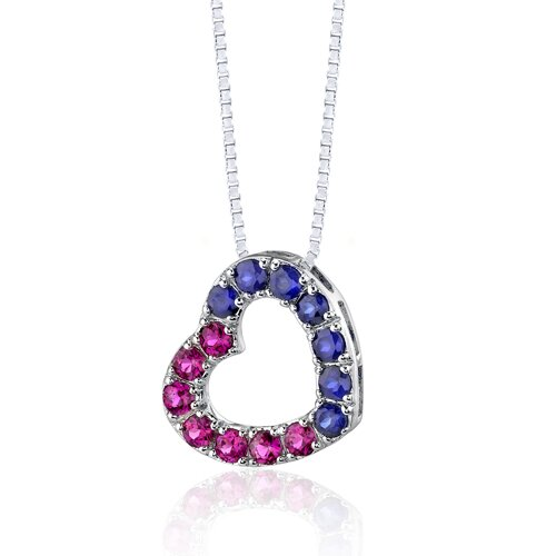 Oravo 2.00 Carats Total Weight Round Shape Ruby and Blue Sapphire Open Heart Pendant Necklace in Sterling Silver