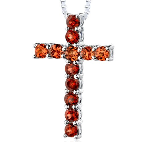 1.75 Carats Total Weight Round Shape Garnet and Padparascha Sapphire Cross Pendant Necklace in ...