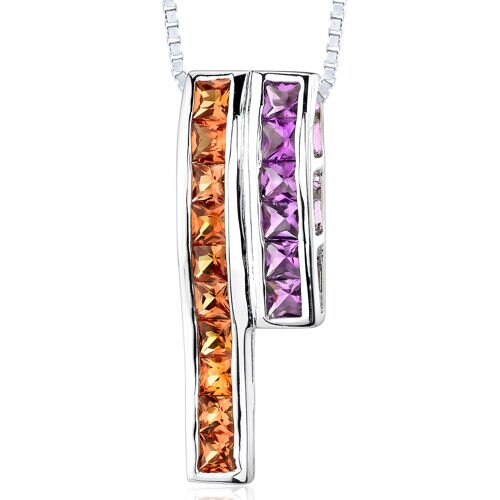 2.50 Carats Total Weight Princess Cut Padparascha Sapphire and Amethyst Slider Pendant Necklace