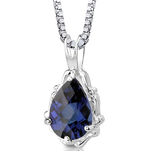 Imperial Beauty Pear Shape Checkerboard Cut Blue Sapphire Pendant in Sterling Silver