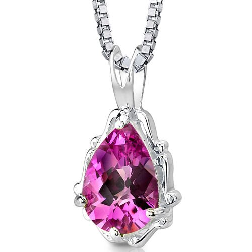 Imperial Beauty Pear Shape Checkerboard Cut Pink Sapphire Pendant in Sterling Silver