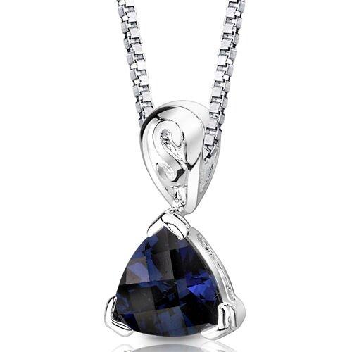 Oravo Sweet Elegance Trillion Checkerboard Cut Blue Sapphire Pendant in Sterling Silver