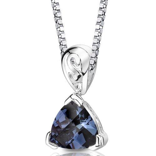 Oravo Sweet Elegance Trillion Checkerboard Cut Alexandrite Pendant in Sterling Silver