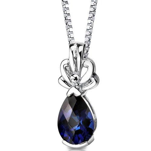 Royal Grace Pear Shape Checkerboard Cut Blue Sapphire Pendant in Sterling Silver