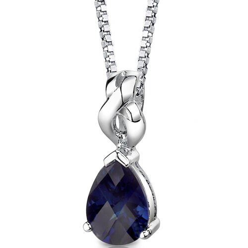 Mysterious Allure Pear Shape Checkerboard Cut Blue Sapphire Pendant in Sterling Silver