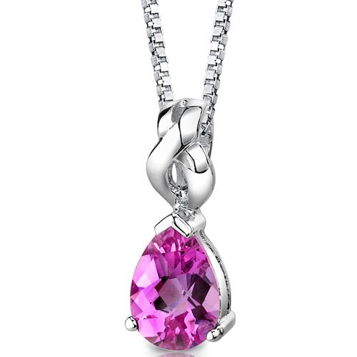 Mysterious Allure Pear Shape Checkerboard Cut Pink Sapphire Pendant in Sterling Silver