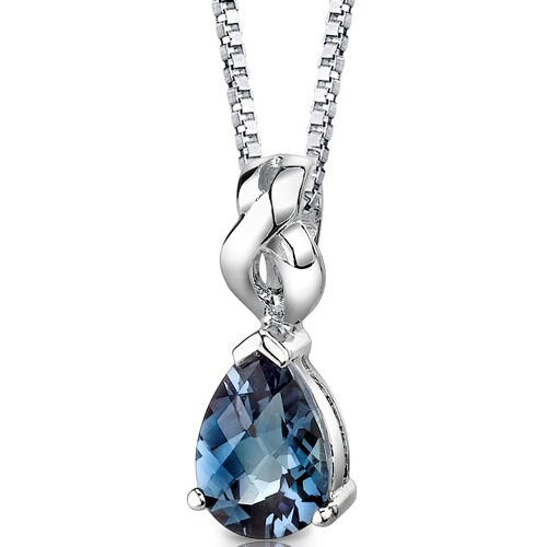 Oravo Mysterious Allure Pear Shape Checkerboard Cut Alexandrite Pendant in Sterling Silver
