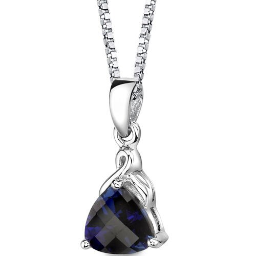 Oravo Sensual Splendor Trillion Checkerboard Cut Blue Sapphire Pendant in Sterling Silver