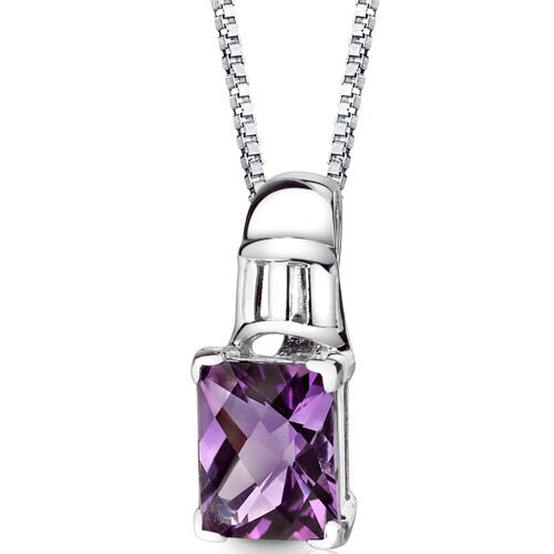 Ravishing Beauty 2.75 Carats Radiant Checkerboard Cut Amethyst Pendant in Sterling Silver