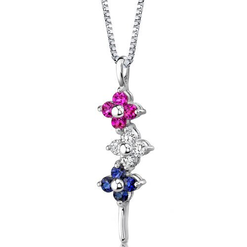 Flower Power Round Shape Multicolor and White CZ Pendant in Sterling Silver