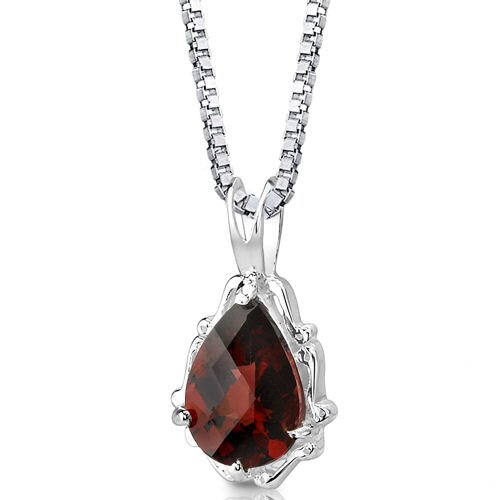 Oravo Imperial Beauty 2.25 Carats Pear Shape Checkerboard Cut Garnet Pendant in Sterling Silver