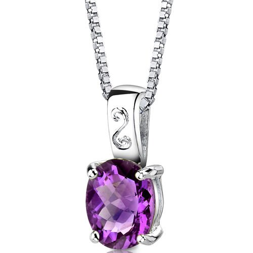 Spring Dream 2.25 Carats Oval Shape Checkerboard Cut Amethyst Pendant in Sterling Silver