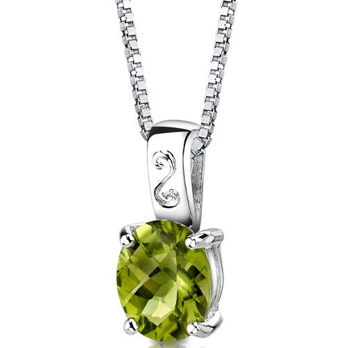 Spring Dream 2.50 Carats Oval Shape Checkerboard Cut Peridot Pendant in Sterling Silver