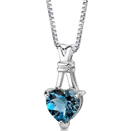 Passionate Pledge 3.00 Carats Heart Shape London Blue Topaz Pendant in Sterling Silver