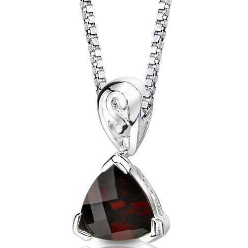 Sweet Elegance 2.25 Carats Trillion Checkerboard Cut Garnet Pendant in Sterling Silver