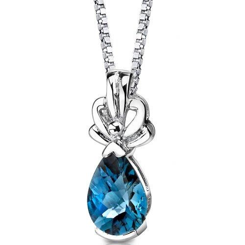 Oravo Royal Grace 2.25 Carats Pear Shape London Blue Topaz Pendant in Sterling Silver
