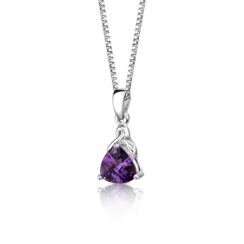 Oravo Sensual Splendor 1.50 Carats Trillion Checkerboard Cut Amethyst Pendant in Sterling Silver