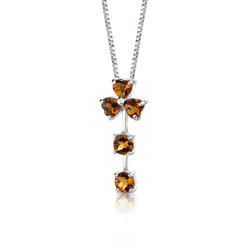 Oravo Floral Passion 2.25 Carats Multishape Checkerboard Cut Citrine Pendant in Sterling Silver