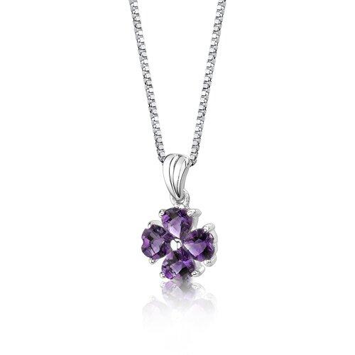 Oravo Irresistible Desire 1.50 Carats Heart Shape Amethyst Pendant in Sterling Silver