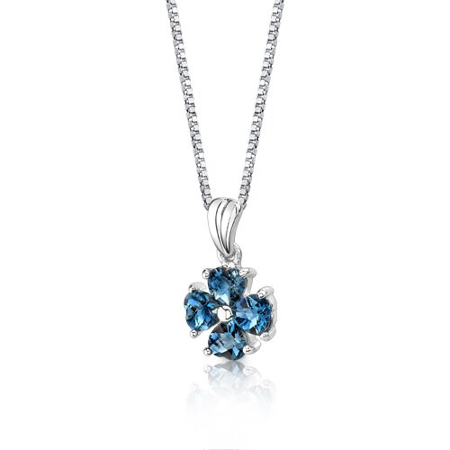 Oravo Irresistible Desire 2.00 Carats Heart Shape London Blue Topaz Pendant in Sterling Silver