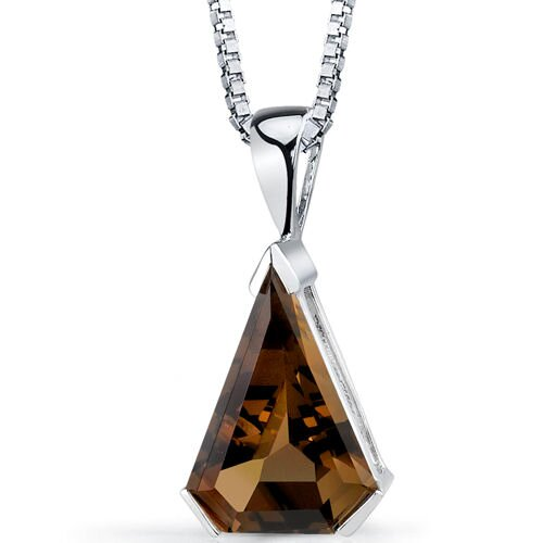 Chevron Cut 6.75 Carats Smoky Quartz Pendant in Sterling Silver