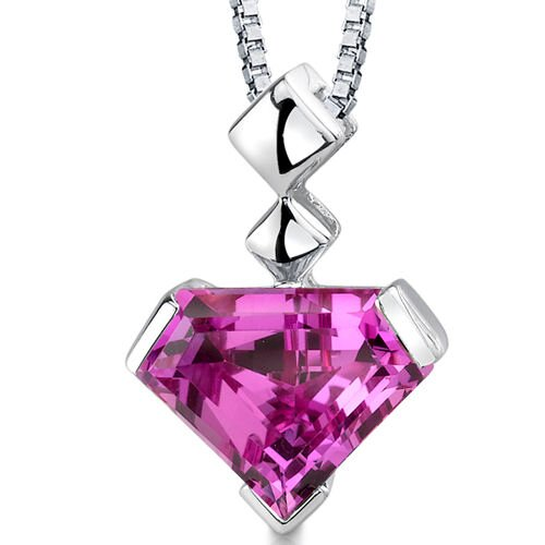 Superman Cut 6.25 Carats Pink Sapphire Pendant in Sterling Silver
