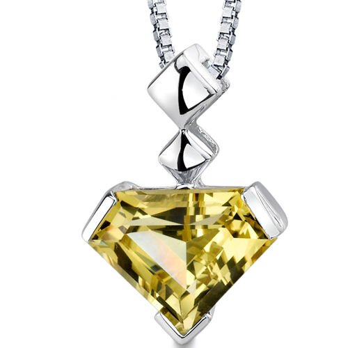 Superman Cut 6.25 Carats Lemon Quartz Pendant in Sterling Silver