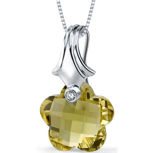 Blooming Flower Cut 11.00 Carat Lemon Quartz Pendant Necklace in Sterling Silver