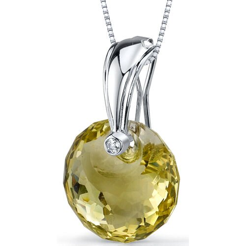 Spherical Cut 15.00 Carats Lemon Quartz Pendant Necklace in Sterling Silver