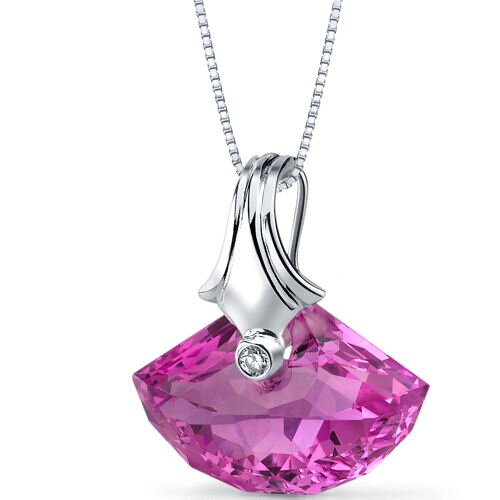 Oravo Spectacular Shell Cut 21.00 Carat Pink Sapphire Pendant Necklace in Sterling Silver