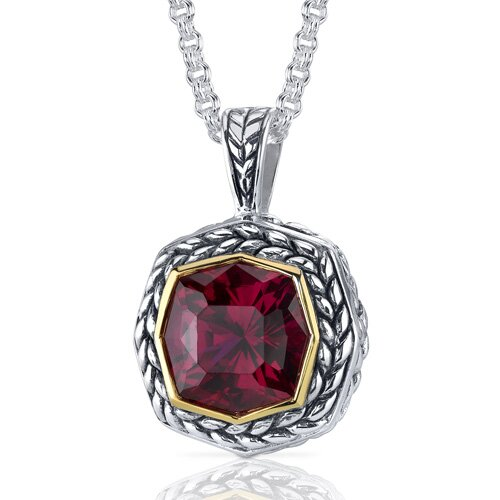 Octagon Cut 9.00 Carats Ruby Antique Style Pendant in Sterling Silver
