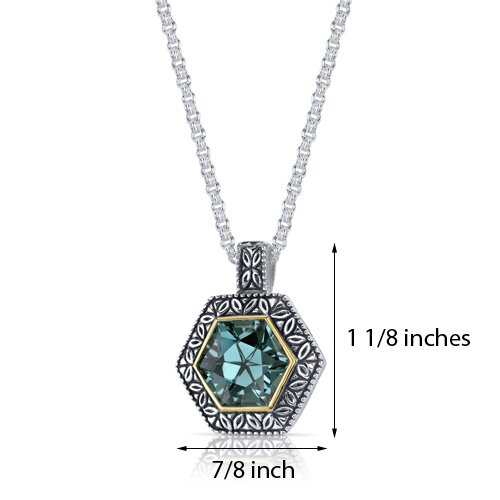 Oravo Hexagon Cut 8.25 Carats Green Spinel Antique Style Pendant in Sterling Silver