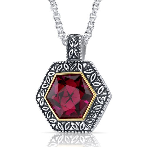 Hexagon Cut 9.50 Carats Ruby Antique Style Pendant in Sterling Silver