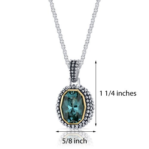 Oravo Barrel Cut 7.00 Carats Green Spinel Antique Style Pendant in Sterling Silver