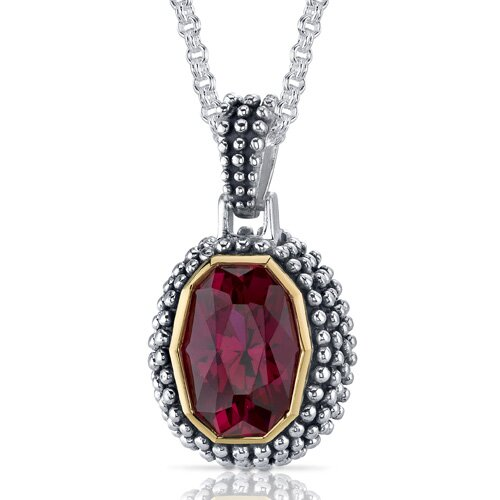 Barrel Cut 7.50 Carats Ruby Antique Style Pendant in Sterling Silver