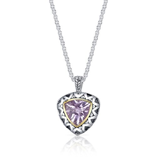 Oravo Trillion Checkerboard Cut 5.00 Carats Pink Amethyst Antique Style Pendant in Sterling Silver