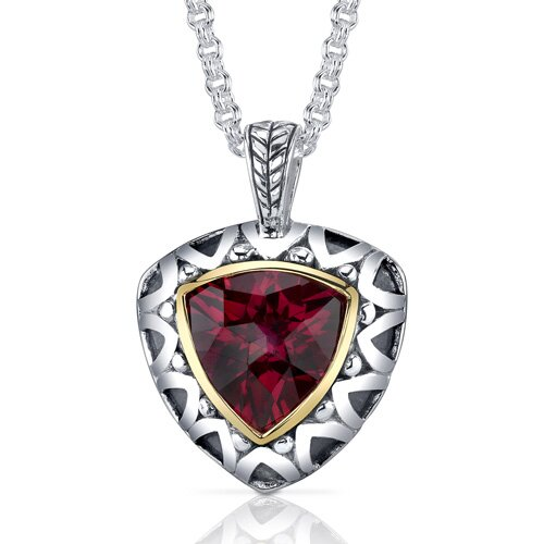 Trillion Checkerboard Cut 8.00 Carats Ruby Antique Style Pendant in Sterling Silver