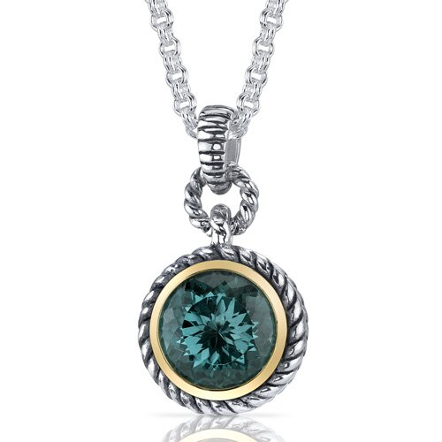 Oravo Portuguese Cut 4.75 Carats Green Spinel Twisted Cable Pendant in Sterling Silver
